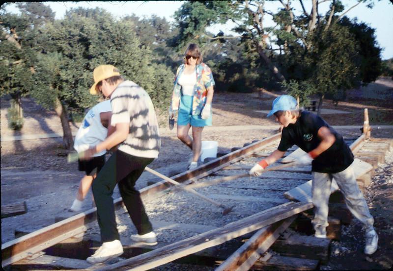 Hieter Family ballasting track at Goleta Depot, 1989. acc2005.001.1202