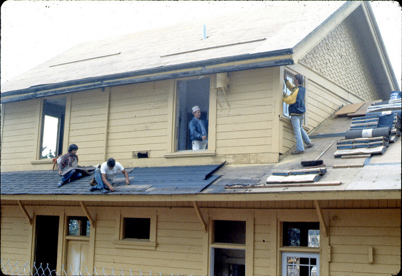 Installing new roofing. Also, Bob and James Hiestand, 9/1982. acc2005.001.0309