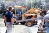 Laying of the standard-gauge track (Gary Coombs, right, with back to camera), 4/2/1985 acc2005.001.0490B