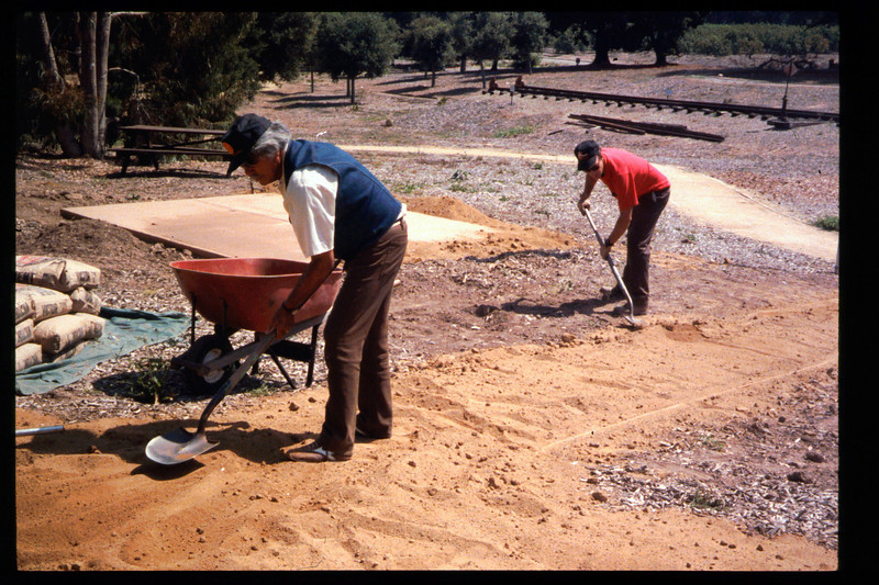Two new paths, including one that is wheelchair-accessible, were built in 1994 from the sidewalk to the eastern portion of the museum grounds, including the train-ride boarding area. Volunteers who worked on the project were Gene Allen, Al Jaramillo, and Bill Parker. acc2005.001.1953