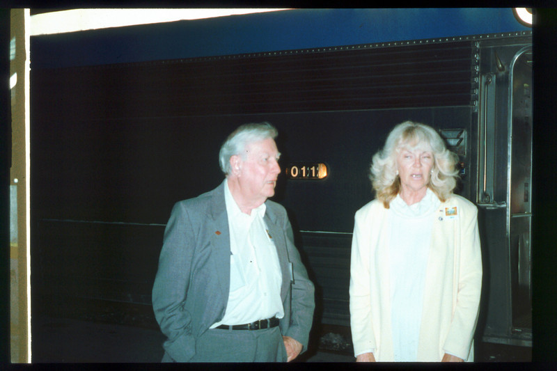 Museum Director Gary Coombs and Assistant Director Phyllis Olsen rode the inaugural cross-country Sunset Limited train, Los Angeles-to-Miami and return, as guests of Amtrak, March 28-April 6, 1993. acc2005.001.1774