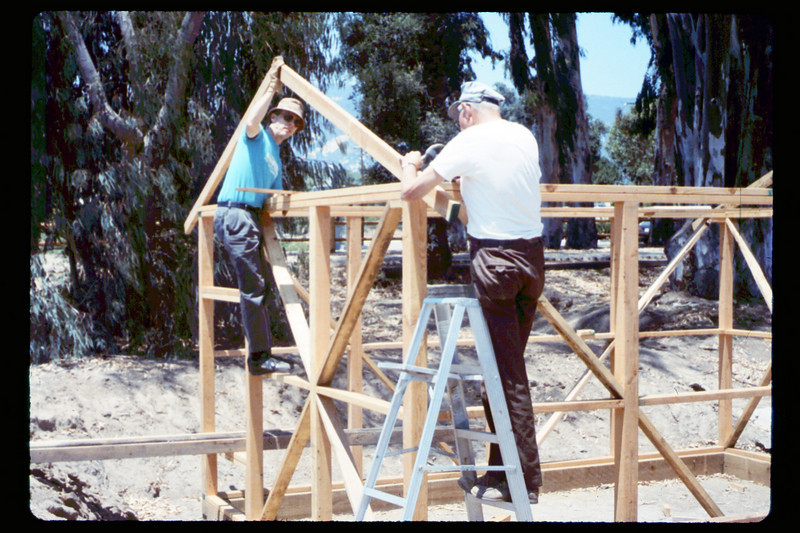 Construction of miniature-train shed (Jim Allen & Gene Allen), 6/1990. acc2005.001.1355