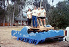 New handcar is featured in museum's Goleta Valley Days Parade float, 10/1989. acc2005.001.1217