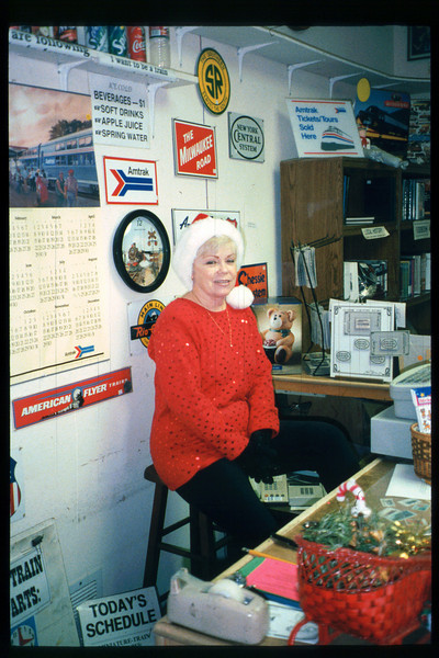 Shop Clerk Edee Brown dresses the part for 1998 Candy Cane Train event. acc2005.001.2192