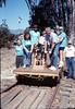Asphalt Regatta spring fundraiser (Tom Rogers & handcar volunteers), 3/17/1990. acc2005.001.1302