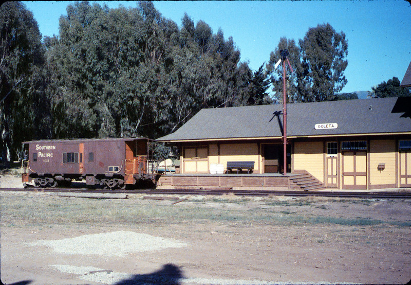 Caboose 4023 at its new home in front of Goleta Depot, Fall 1986. acc2005.001.0649