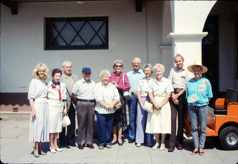 Museum group rides by rail to Calif. State Railroad Museum, Sacramento, 9/1988. acc2005.001.1008