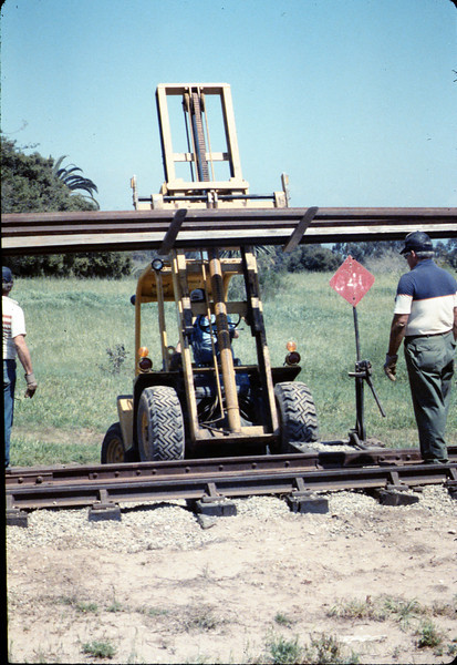 Track materials from Sears Spur in Goleta are donated to museum, 4/1987. acc2005.001.0734