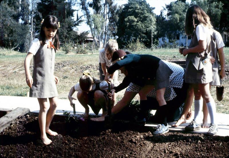 Brownies planting flowers, 1984. acc2005.001.0446