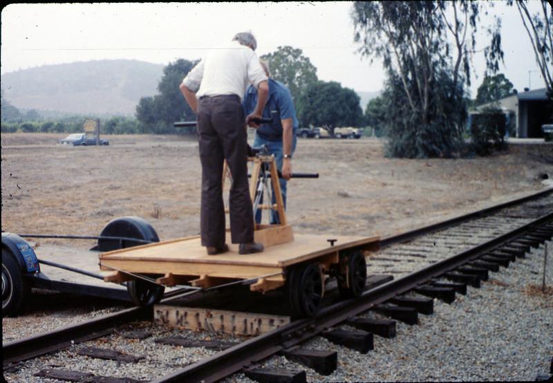 Gene Allen and Ralph Moore test new museum handcar, 10/1989. acc2005.001.1212