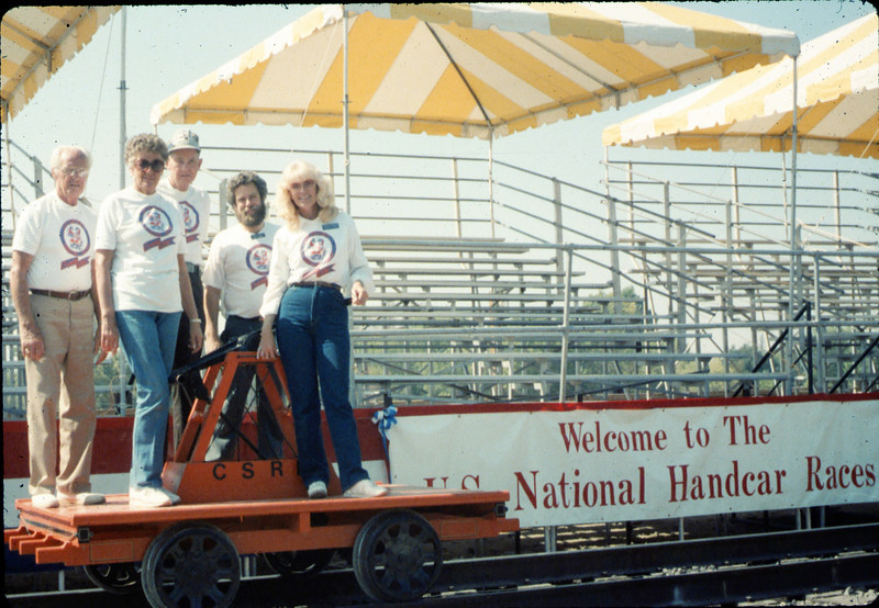 Handcar race team - George Adams, Anna Dato, Gene Allen, Gary Coombs and Phyllis Olsen - at Calif. State Railroad Museum, Sacramento, 9/18/1987 acc2005.001.0867