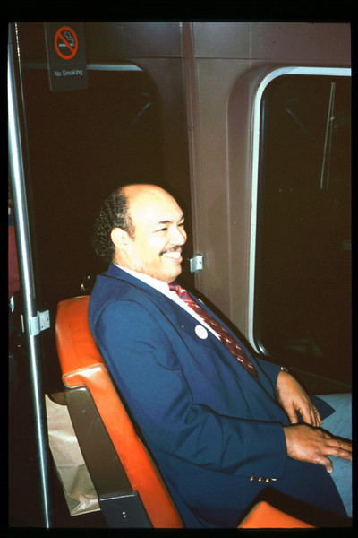 Museum Director Gary Coombs and Assistant Director Phyllis Olsen rode the inaugural cross-country Sunset Limited train, Los Angeles-to-Miami and return, as guests of Amtrak, March 28-April 6, 1993. acc2005.001.1709