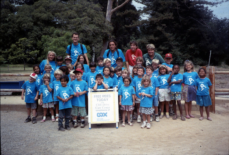 Cox Cable sponsored free museum train rides for many visiting school and youth groups, including the Cliff Drive Care Center, July 1994. acc2005.001.1986