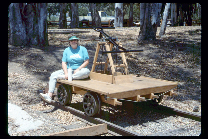 Handcar and volunteer, 6/1990. acc2005.001.1356