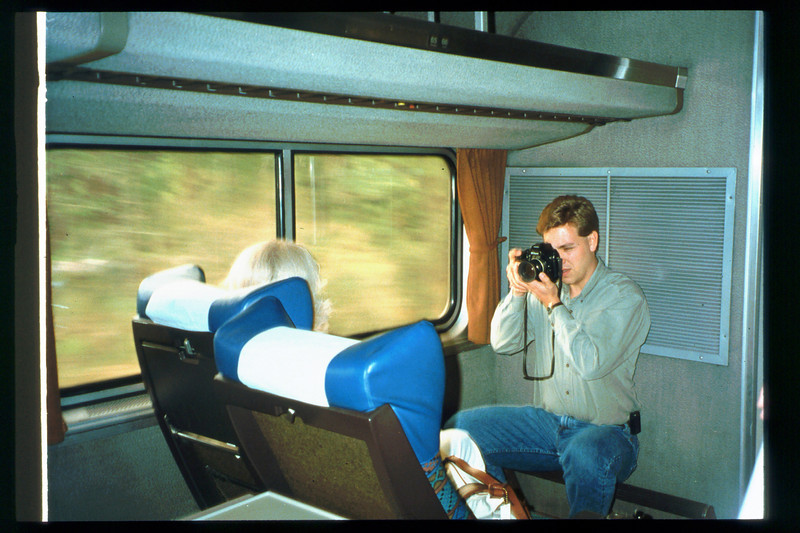 Museum Director Gary Coombs and Assistant Director Phyllis Olsen rode the inaugural cross-country Sunset Limited train, Los Angeles-to-Miami and return, as guests of Amtrak, March 28-April 6, 1993. acc2005.001.1777