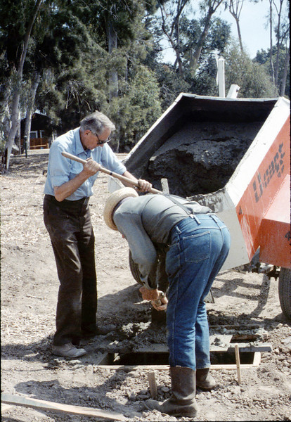 Pouring the slab for the wig-wag signal (Gene Allen and Al Volkman), 5/1989. acc2005.001.1157