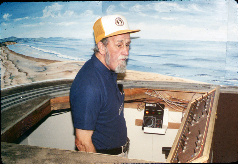 Volunteer Malcolm Alexander in Model-Railroad Exhibit, 4/1988. acc2005.001.0931