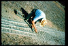 Gene Allen works on miniature-train expansion which will add 600 feet to route, Summer 1994. acc2005.001.2013