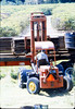 Laying of the standard-gauge track (Ed Lebeck on forklift), 4/2/1985 acc2005.001.0483