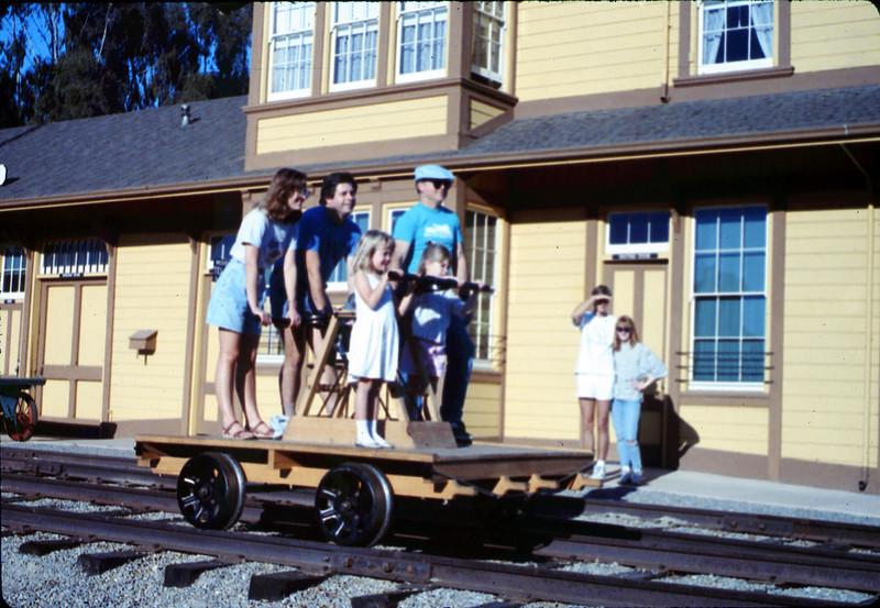 Handcar rides at museum begin, 11/1989. acc2005.001.1231