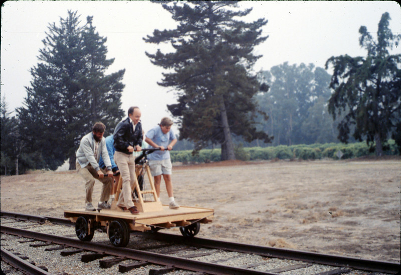 Dave Hieter and others test the new museum handcar, 10/1989. acc2005.001.1215