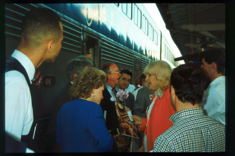 Museum Director Gary Coombs and Assistant Director Phyllis Olsen rode the inaugural cross-country Sunset Limited train, Los Angeles-to-Miami and return, as guests of Amtrak, March 28-April 6, 1993. acc2005.001.1766