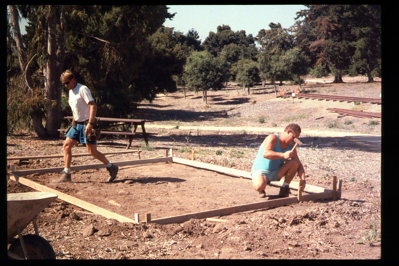 The Goleta Lions Club commissioned the construction of an 11x14-foot pad near the flagpole, to be used for the preparation and sale of food during special events, or for other museum activities, 1994. acc2005.001.1944