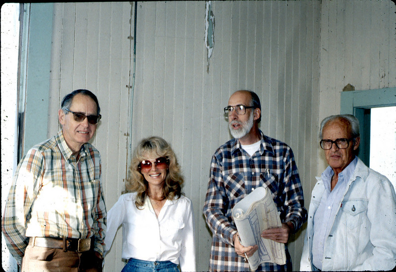 Gene Allen, Phyllis Olsen, Ray Baird, and George Adams, Feb. 1982. acc2005.001.0148