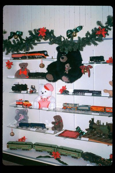 Toy Trains & Teddy Bears holiday display, 1991. acc2005.001.1590