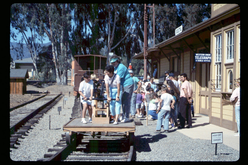 Depot Day handcar rides, 10/1990. acc2005.001.1406