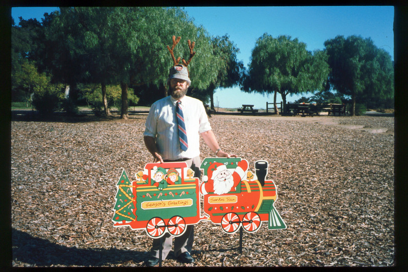 "The ""Holiday Train"" event, which later became the ""Candy Cane Train,"" was first held in 1993, from Nov. 26 thru Dec. 24. This is antlered Museum Director Gary Coombs. acc2005.001.1895"