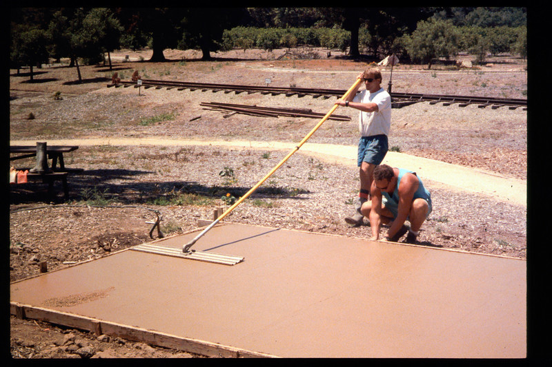 The Goleta Lions Club commissioned the construction of an 11x14-foot pad near the flagpole, to be used for the preparation and sale of food during special events, or for other museum activities, 1994. acc2005.001.1950