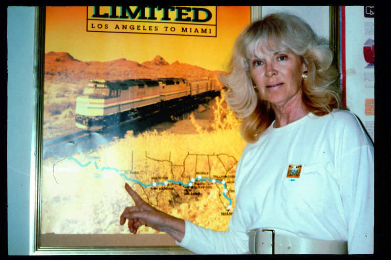 Museum Director Gary Coombs and Assistant Director Phyllis Olsen rode the inaugural cross-country Sunset Limited train, Los Angeles-to-Miami and return, as guests of Amtrak, March 28-April 6, 1993. acc2005.001.1712