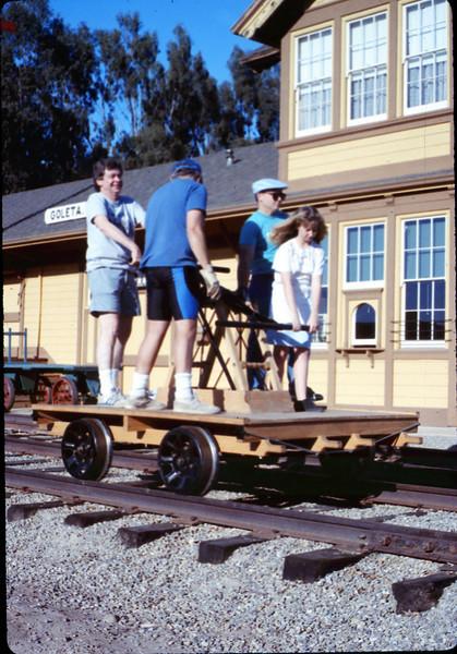 Handcar rides at museum begin, 11/1989. acc2005.001.1224
