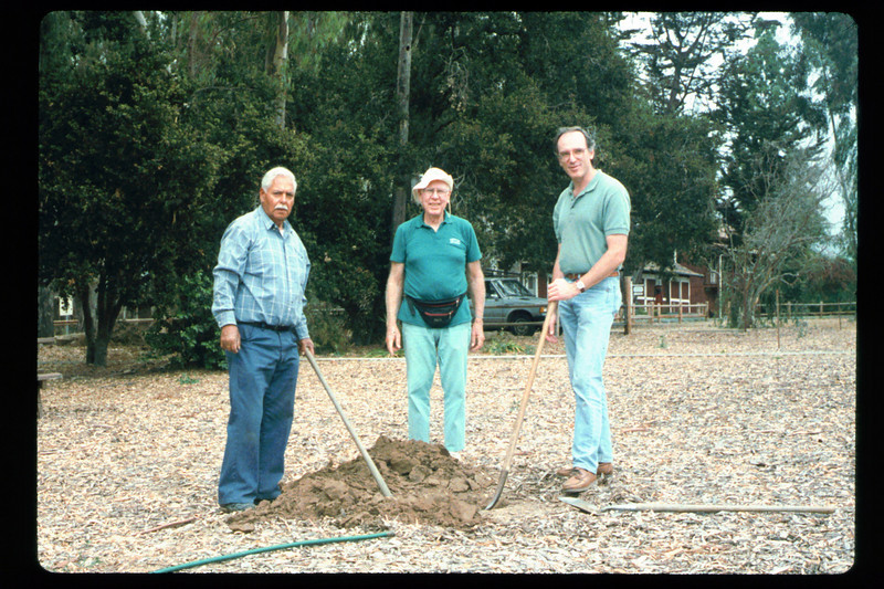 Tree is planted (Goleta Beautiful) in memory of the museum's late benefactor, Earl Hill, 1992. acc2005.001.1631