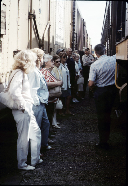 Museum group rides by rail to Calif. State Railroad Museum, Sacramento (Restoration Shops), 9/1988. acc2005.001.1011