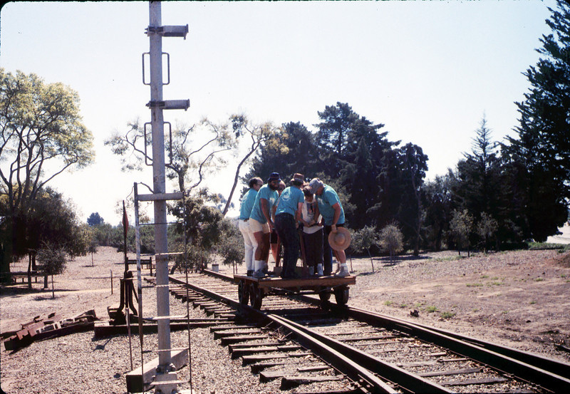Asphalt Regatta spring fundraiser (handcar riders), 3/17/1990. acc2005.001.1312