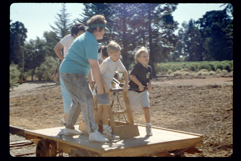Depot Day handcar rides, 10/1990. acc2005.001.1407