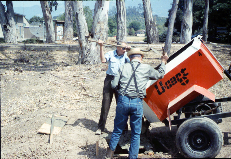 Pouring the slab for the wig-wag signal (Gene Allen and Al Volkman), 5/1989. acc2005.001.1155