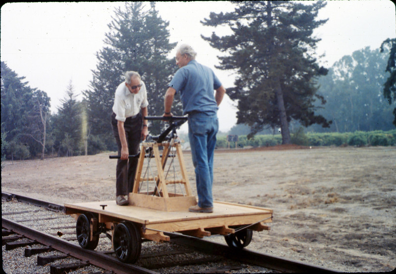 Gene Allen and Ralph Moore test new museum handcar, 10/1989. acc2005.001.1211