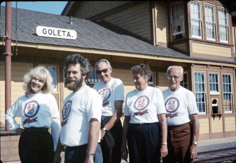 Handcar racing team back home Gene Allen, Anna Dato, George Adams, Phyllis Olsen, and Gary Coombs, 10/1987. acc2005.001.0880