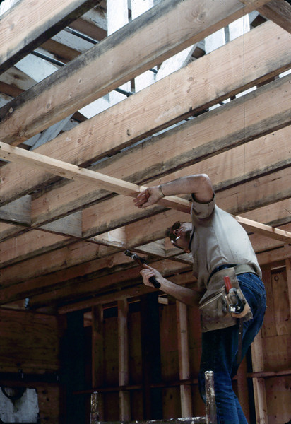 "Carpenter ""Paul"" prepares Freight Room ceiling, 6/1982. acc2005.001.0253"