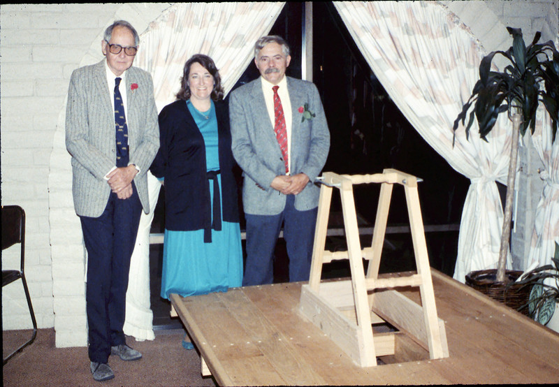 Annual Dinner at Holiday Inn (Gene Allen, Jane Hieter, Dave Hieter) and handcar work in progress, 5/11/1989 acc2005.001.1168