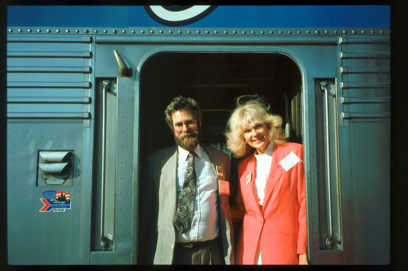 Museum Director Gary Coombs and Assistant Director Phyllis Olsen rode the inaugural cross-country Sunset Limited train, Los Angeles-to-Miami and return, as guests of Amtrak, March 28-April 6, 1993. acc2005.001.1762