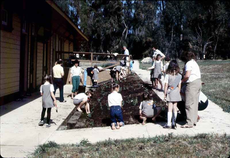 Brownies planting flowers, 1984. acc2005.001.0447