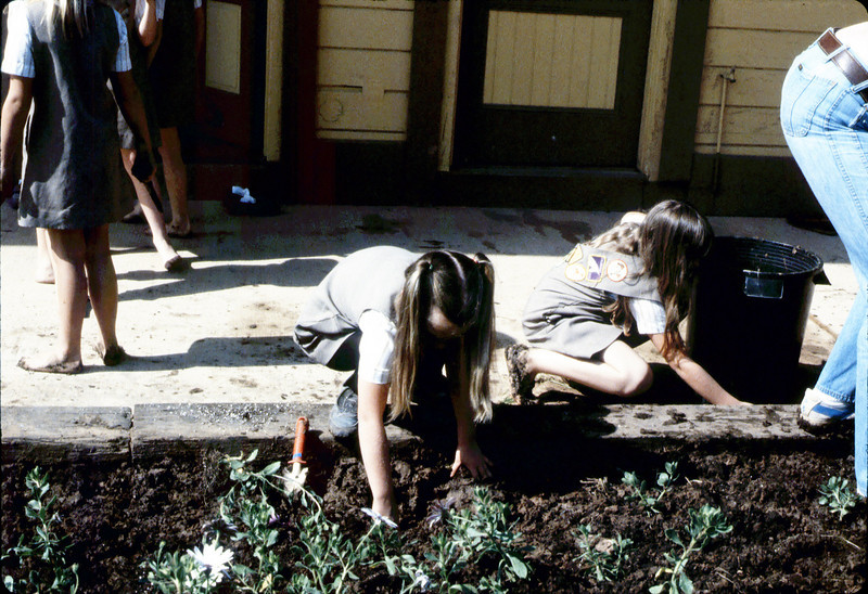 Brownies planting flowers, 1984. acc2005.001.0448
