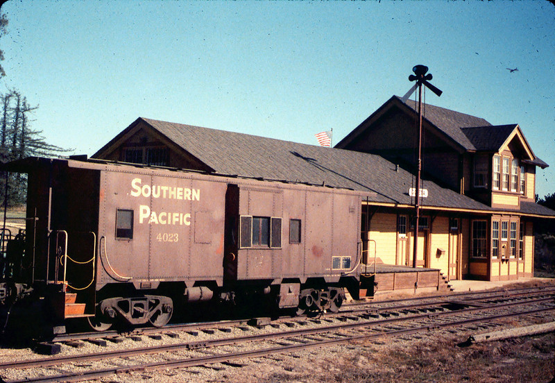 Caboose 4023 at its new home in front of Goleta Depot, Fall 1986. acc2005.001.0650