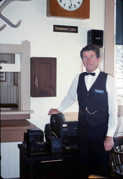 Volunteer Bob Burtness purchased then donated this original Goleta Depot ticket box for display in the museum, 1989. acc2005.001.1117