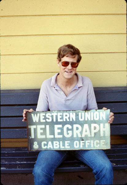 Museum borrowed old Goleta Depot Western Union sign from Steve Arbuckle to commission a replica to hang on the building, 1989. acc2005.001.1113