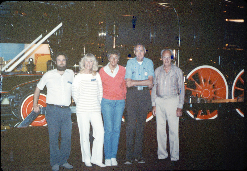 Handcar race team - Gary Coombs Phyllis Olsen, Anna Dato, Gene Allen and George Adams - at Calif. State Railroad Museum, Sacramento, 9/18/1987 acc2005.001.0866